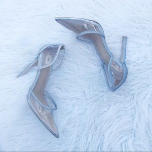 Missguided clear pointed toe gray heels 5